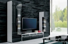 Moderní černá obývací stěna ve vysokém lesku