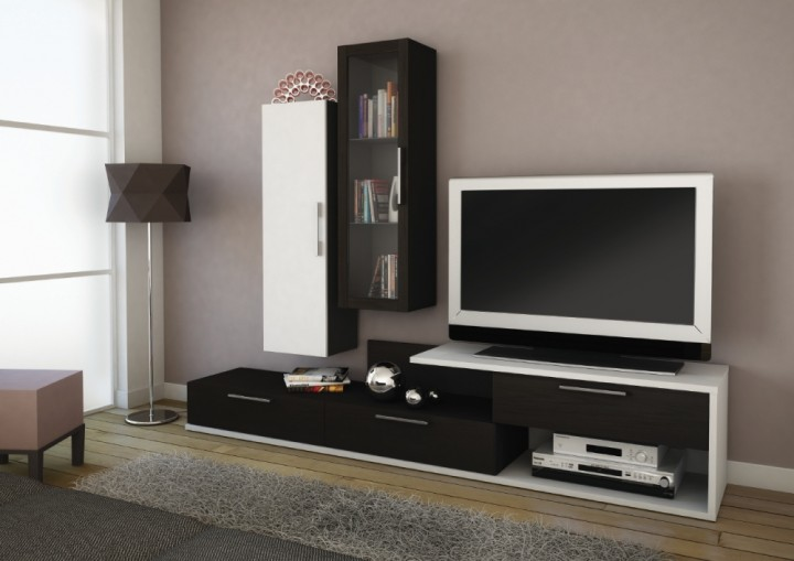 Minimalistická závěsná obývací stěna v černobílé kombinaci
