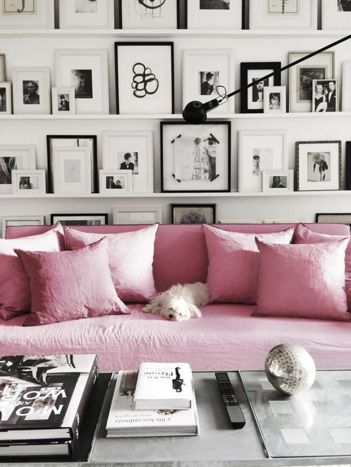 Růžové prvky v interiéru