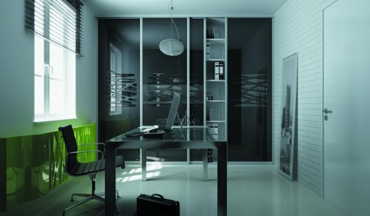 Moderní pracovna s černou vestavěnou skříní