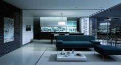 Obývací pokoj s nízkým bílým konferenčním stolkem
