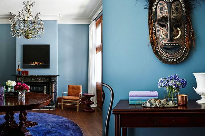 Obývací pokoj v modré