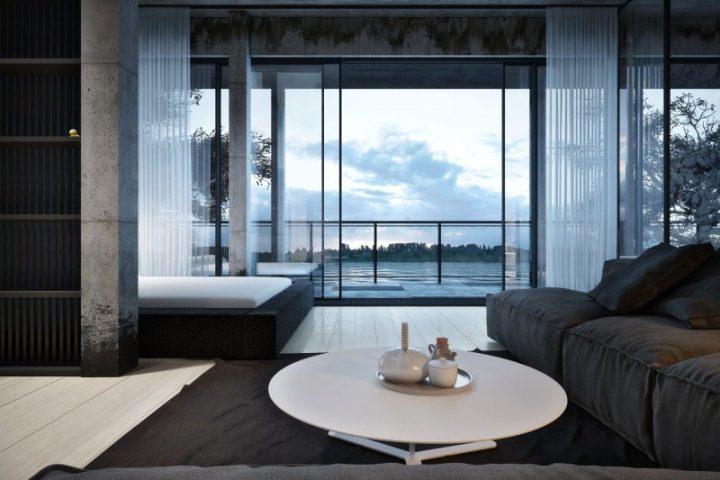 Moderní obývací pokoj s výhledem
