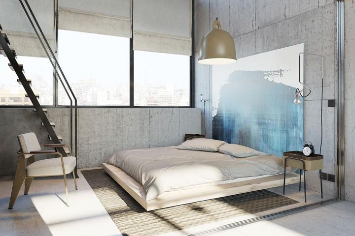 Stylová ložnice v loftovém bytě