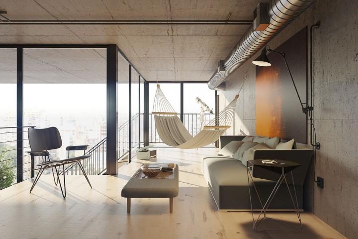 Obývací pokoj s houpací sítí