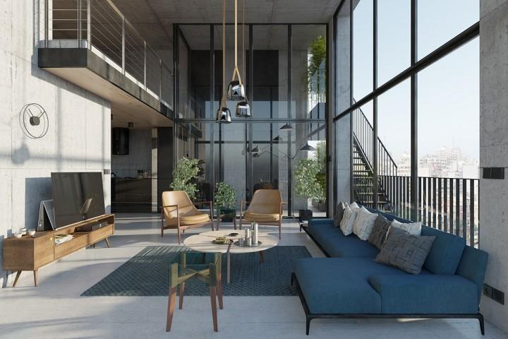 Obývací pokoj v modrých odstínech