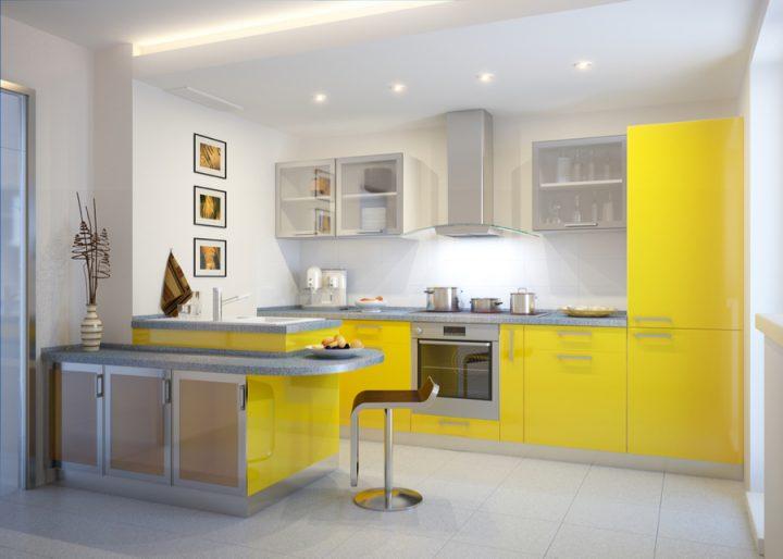 Žlutá kuchyně rozzáří a prohřeje