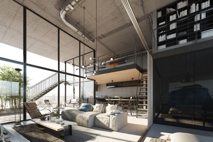 Útulný obývací pokoj v loftovém bytě