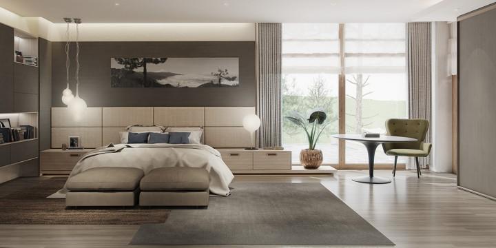 Prostorná ložnice v jemných odstínech