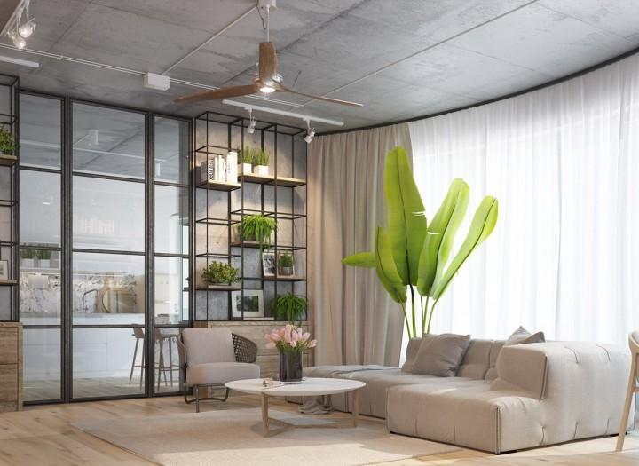Concrete Ceiling Fan : Vyvážený obývací pokoj « interiérové inspirace moderní