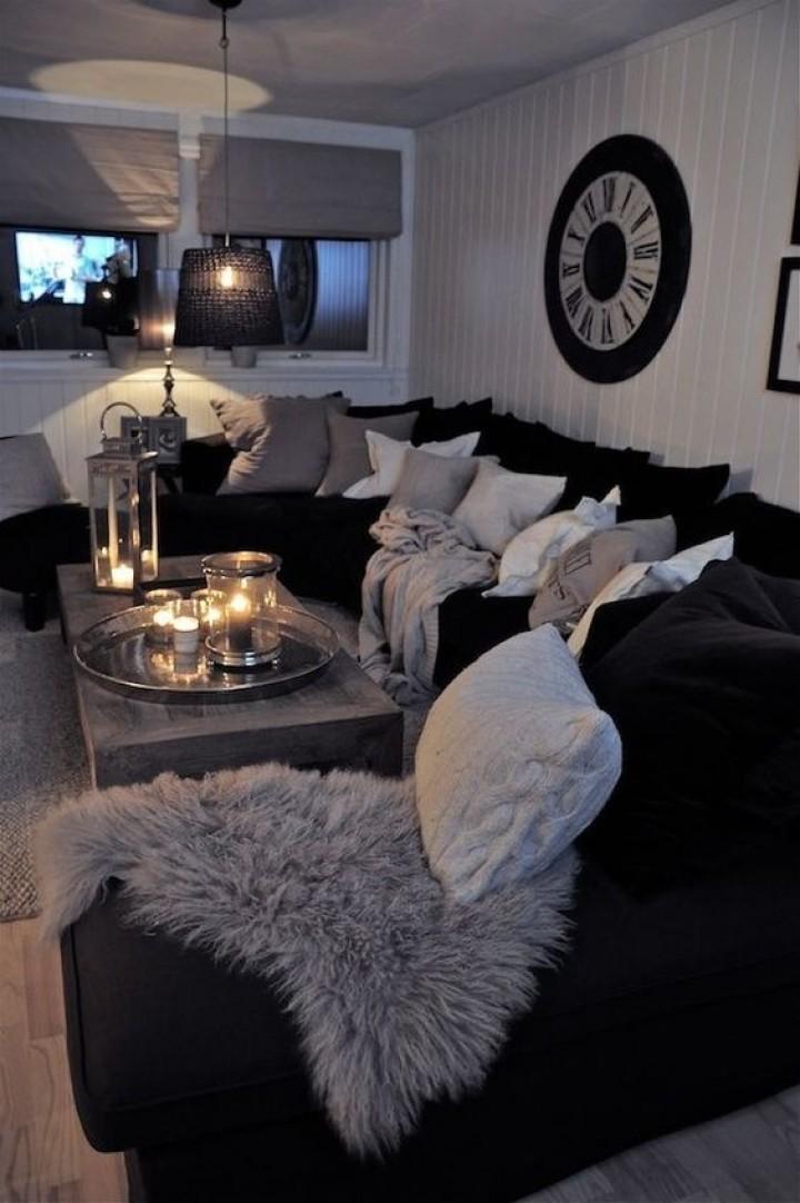 Tmavý obývací pokoj