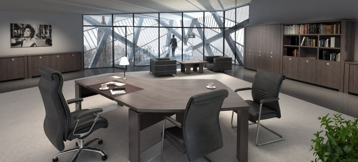 Prostorné pracoviště s kvalitním nábytkem