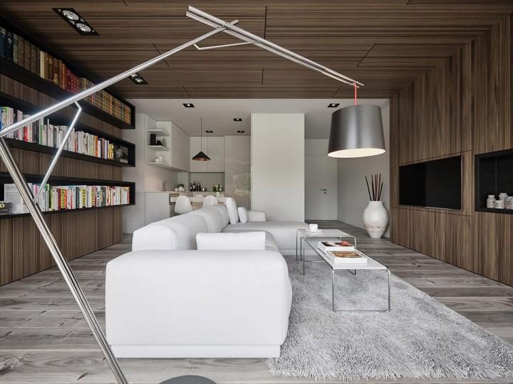 Moderní obývací pokoj ve dřevě