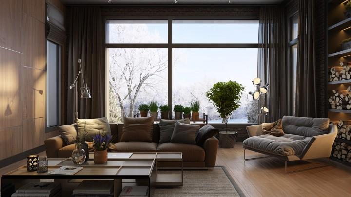 Luxusní obývací pokoj v hnědé barvě