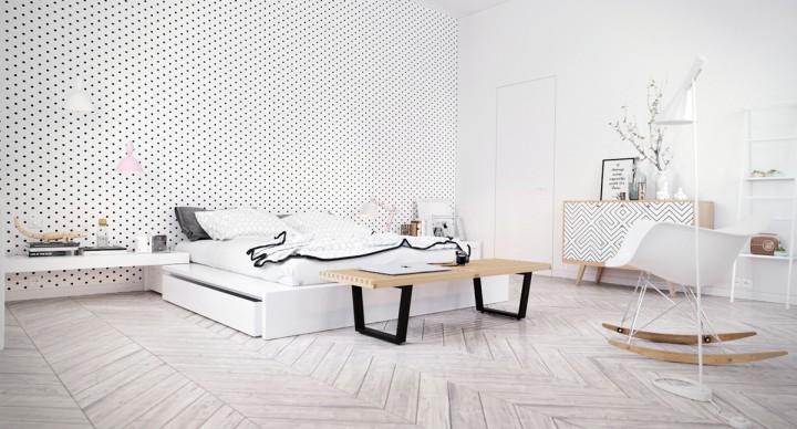 Moderní ložnice ve světlých barvách