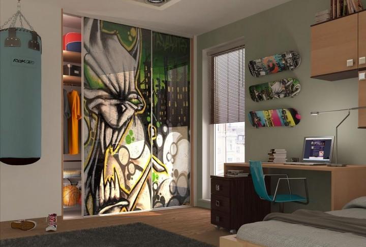Studentský pokoj s originální vestavěnou skříní