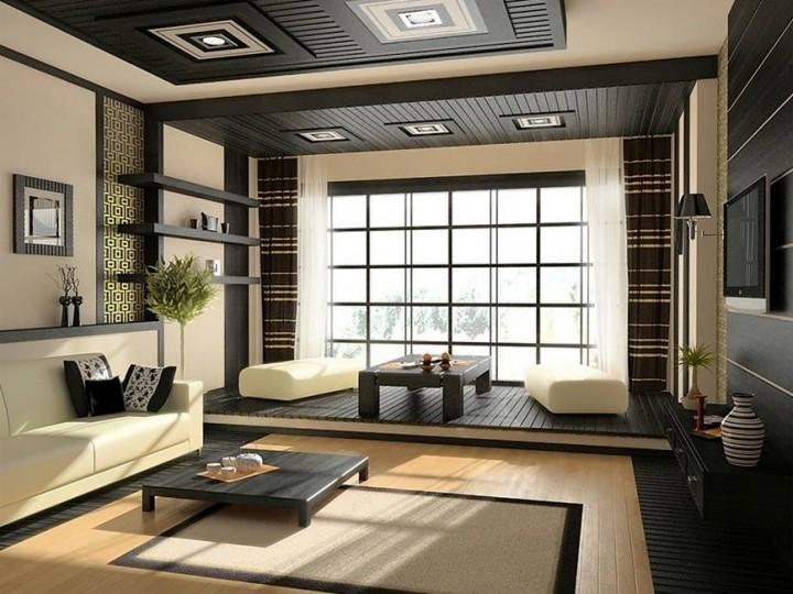 Obývací pokoj v asijském stylu