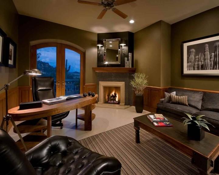 Tmavý obývací pokoj s pracovnou