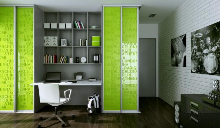 Ložnice s pracovním koutem – v kombinaci bílé a zelené
