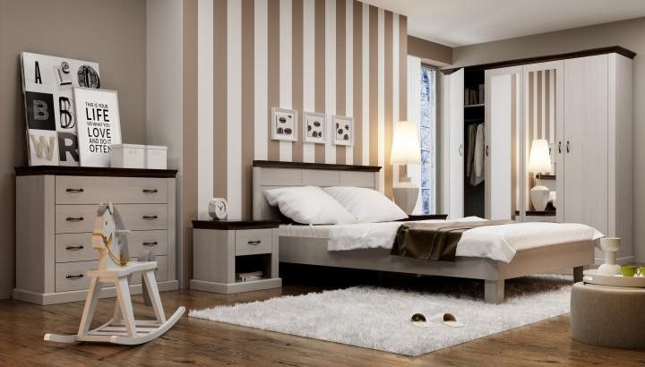Moderní ložnice s tmavě hnědými lištami