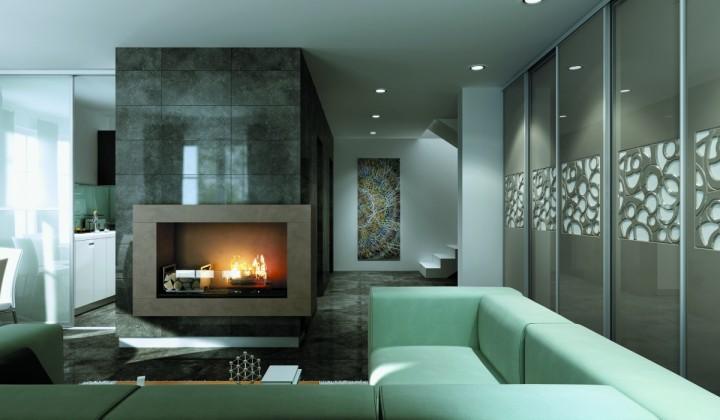 Obývací pokoj s krbem a posuvnou stěnou