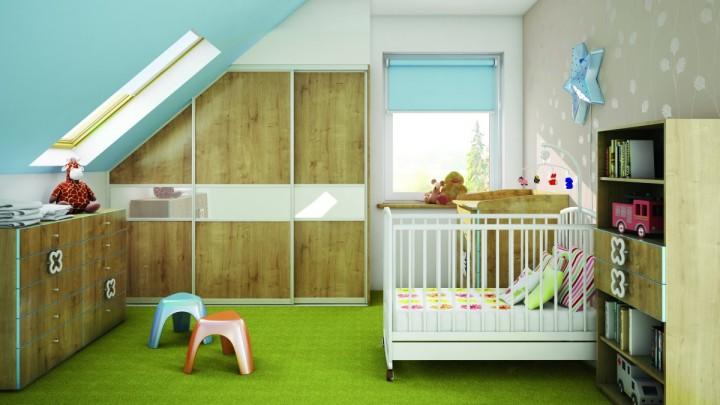 Podkrovní světlý dětský pokoj