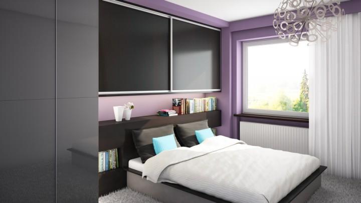 Malá ložnice v kombinaci šedé a fialové barvy