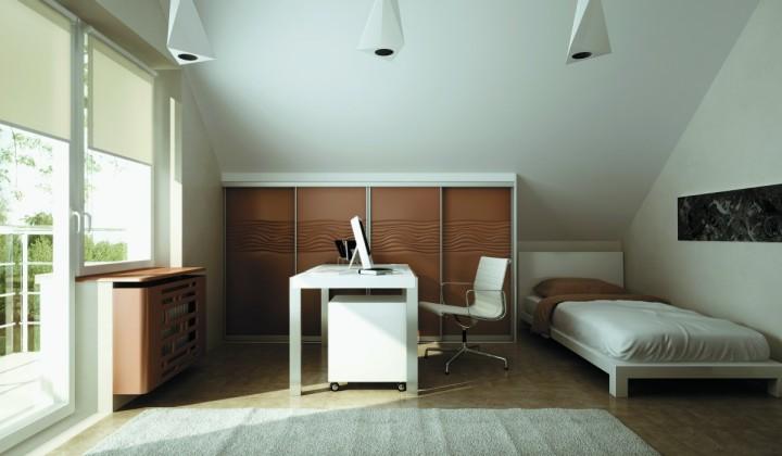 Ložnice v kombinaci s domácí pracovnou