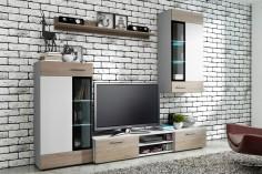 Závěsná obývací stěna v dekoru dubu sonoma