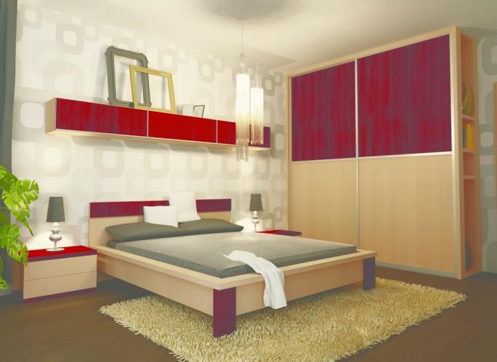Ložnice v kombinaci světlého dřeva a červené barvy