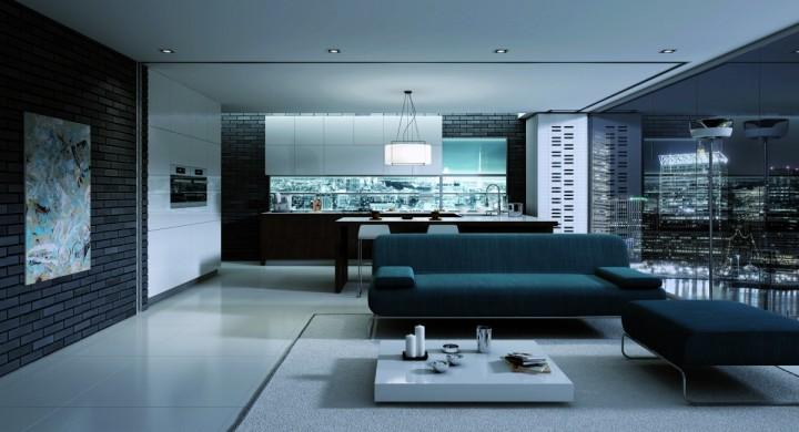 Prostorný obývací pokoj v tmavých barvách