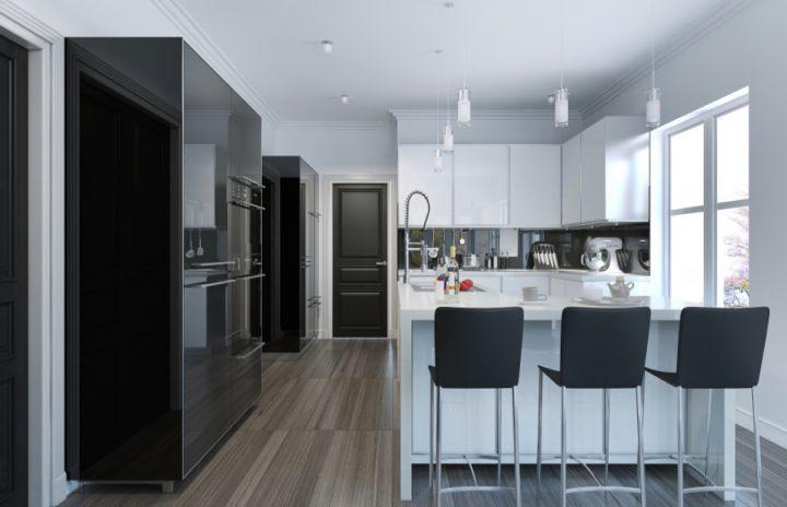Černobílá kuchyně s ostrůvkem