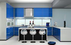 Modrá kuchyně pro relaxaci a odpočinek