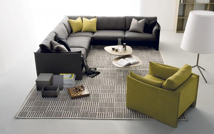 Obývací pokoj v zeleno-modré kombinaci