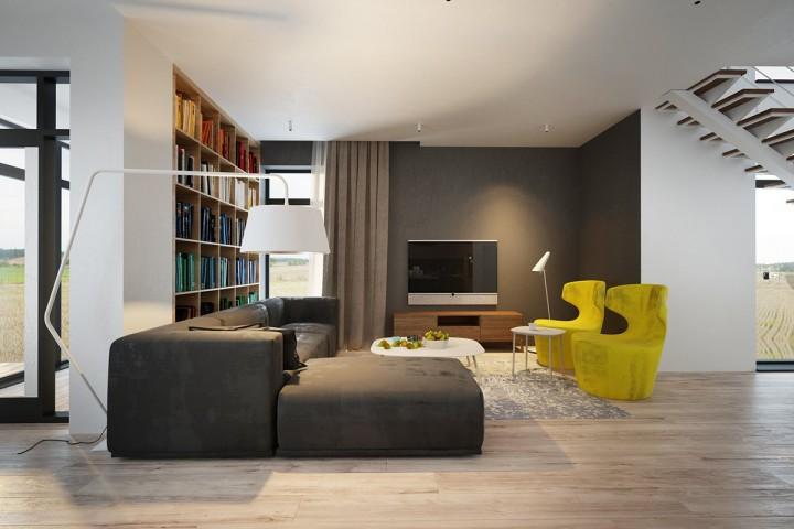 Barevná knihovna oživí obývací pokoj