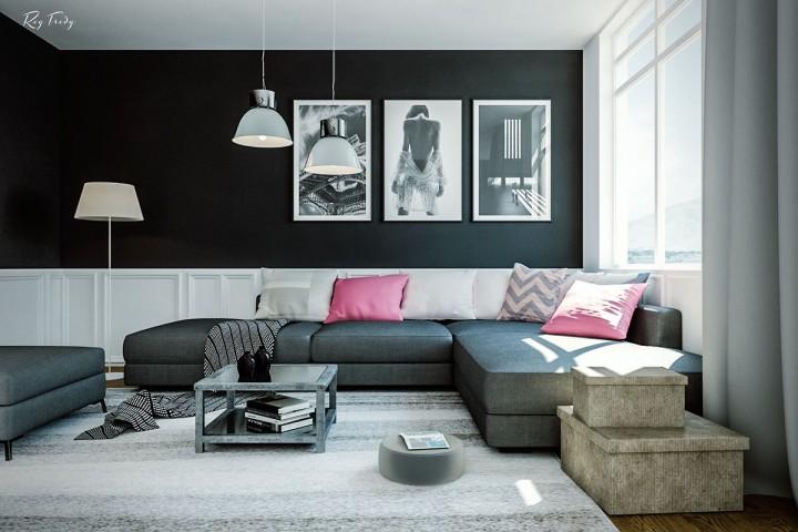 Obývací pokoj v neutrálních barvách