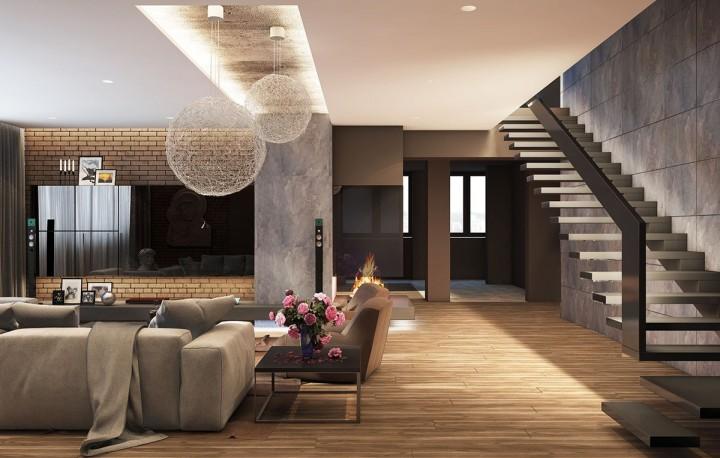 Velký obývací pokoj s přírodními materiály