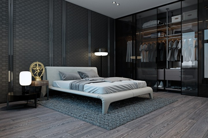Moderní ložnice s šatní skříní