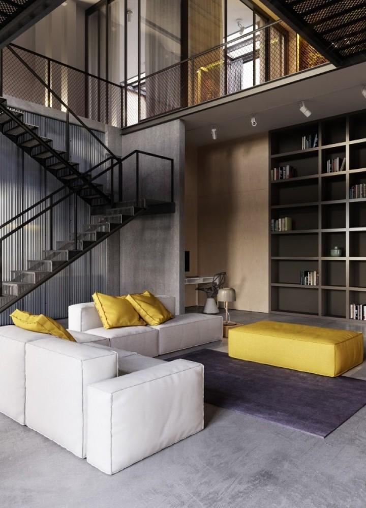Industriální obývací pokoj propojený s minimalismem