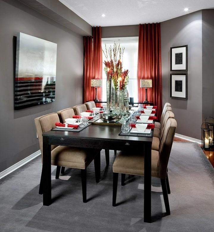 Luxusní jídelna s červenými akcenty