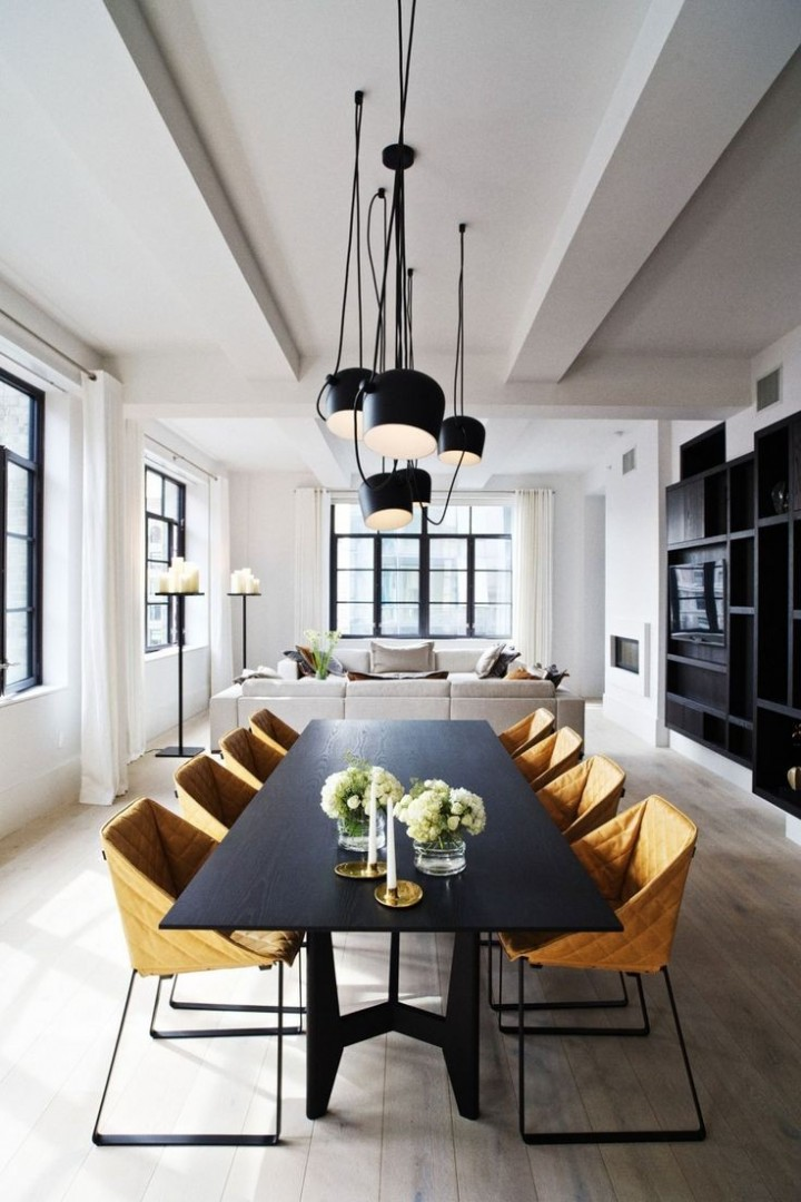 Elegantní jídelna spojená s obývacím pokojem