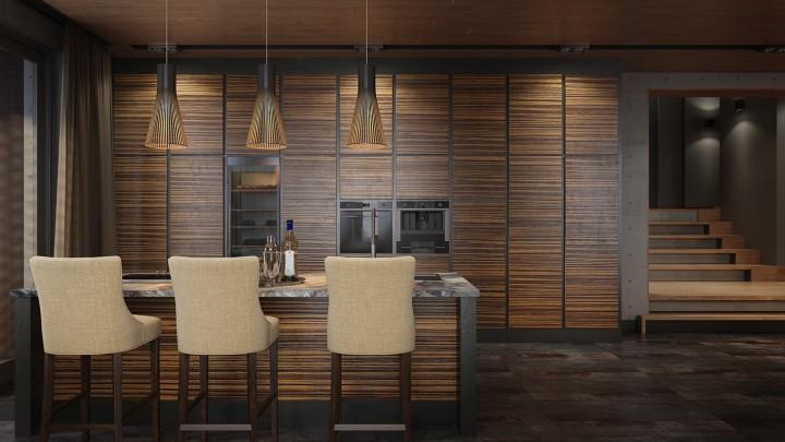Luxusní kuchyň ve dřevě