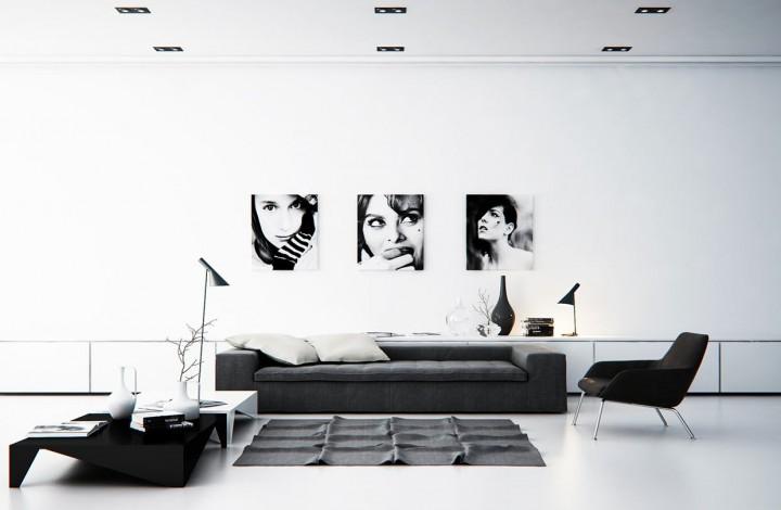 Jednoduchý a vkusný obývací pokoj