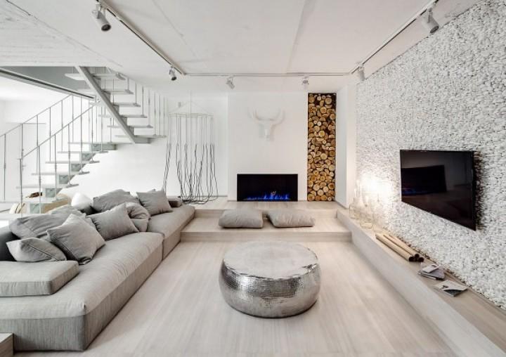Originální obývací pokoj v bílé