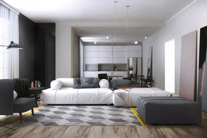 Šedo-bílá kombinace v obývacím pokoji